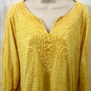 "St. John's Bay Yellow Paisley Top  3/4"" Sleeves XL"